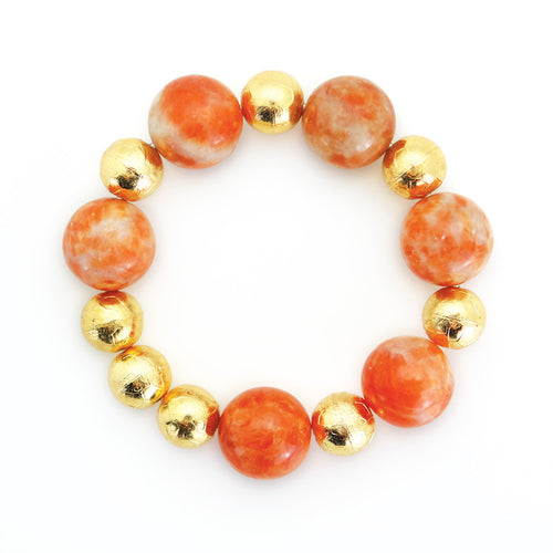 Carved Gold Bead & Honey Calcite Bracelet