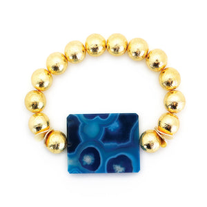 Carved Gold Ball Bracelet with Blue Agate Enhancer