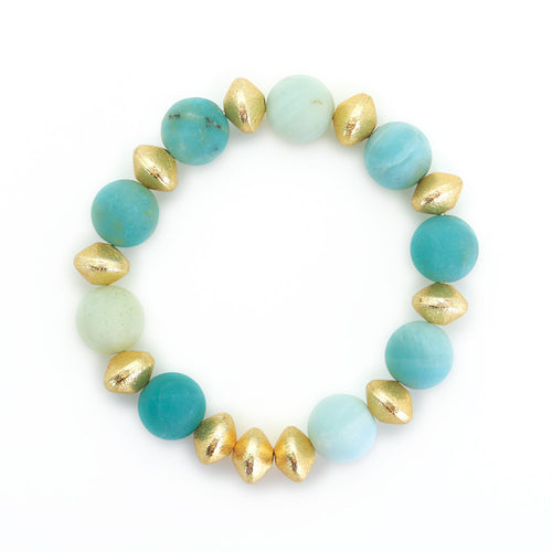 Carved Gold Ball Bracelet with Blue Agate Beads