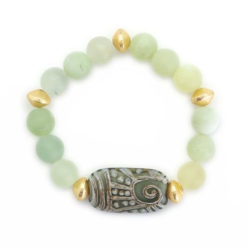 10mm Jade Matte Bead Bracelet with Aztec Design Enhancer