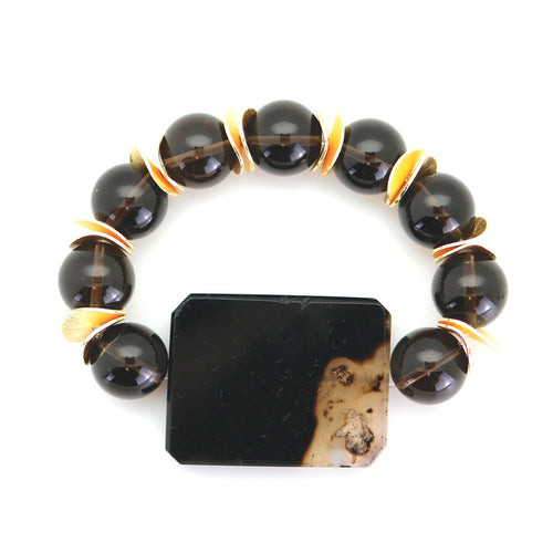 Smoke Bead Bracelet with Black Agate Enhancer