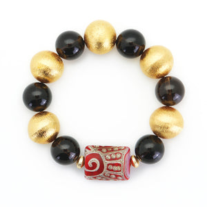 Brushed Gold & Smoke Bead Bracelet with Aztec Enhancer