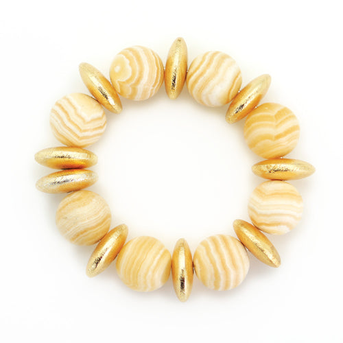 16mm Honey Calcite Bead Bracelet