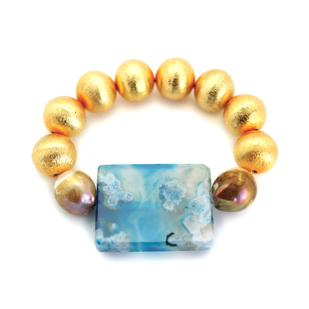 Gold Brushed Ball with Blue Agate Enhancer and Baroque Pearls