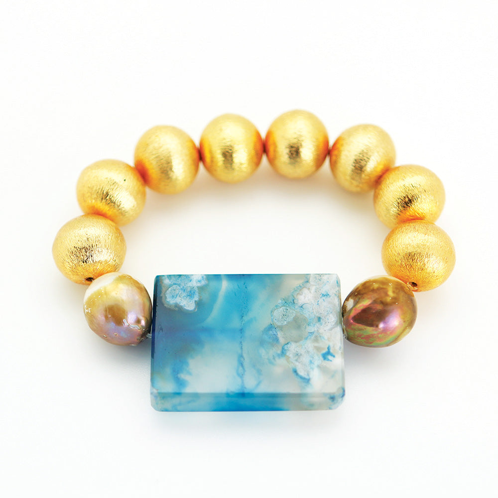 Brushed Gold Ball with Blue Agate Enhancer with Baroque Pearls