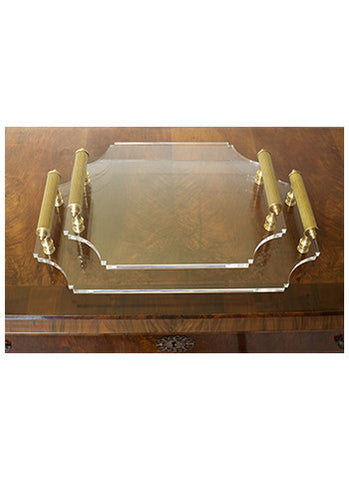 Acrylic Tray with Brass Handles