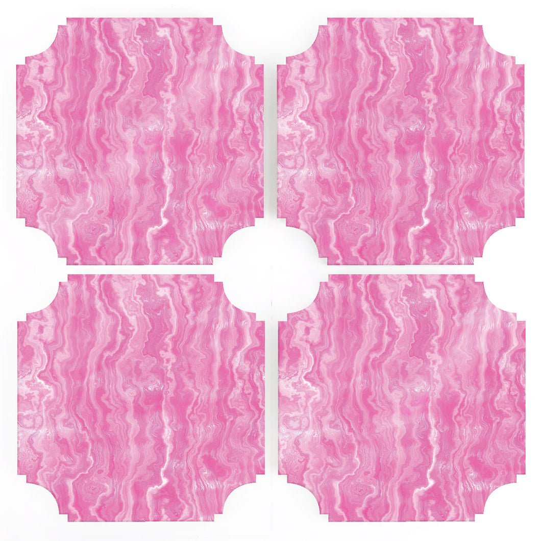 Coasters | Pink Agate, set of four