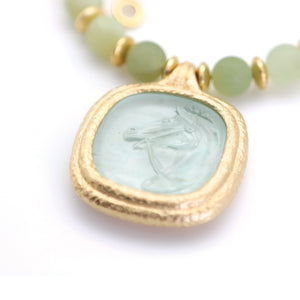 Reprotique Green Glass Horse Intaglio Drop