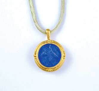 Fob Necklace, Blue Agate