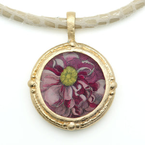Fob Necklace, Hollar Pink Floral