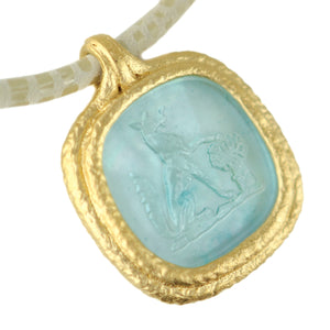 Fob Necklace | Glass Fox Intaglio Blue