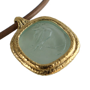 Fob Necklace | Glass Horse Intaglio Light Green