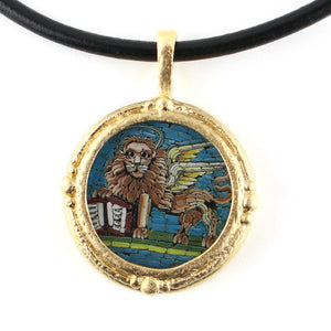 Fob Necklace, Micromosaic Lion