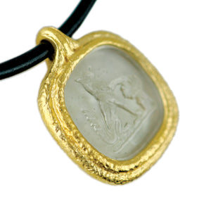Fob Necklace, Glass Fox Intaglio Gray