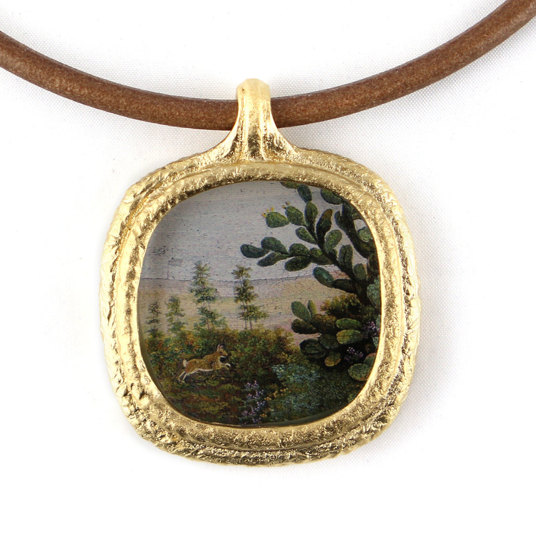 Fob Necklace, Micromosaic Bunny in Landscape
