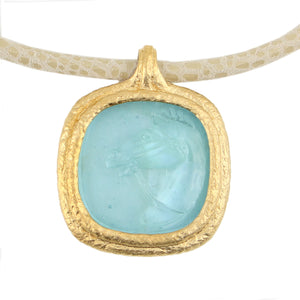 Fob Necklace | Glass Horse Intaglio Blue