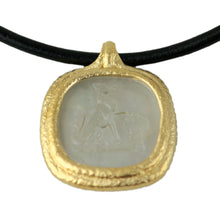 Load image into Gallery viewer, Fob Necklace, Glass Fox Intaglio Gray