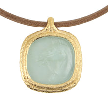 Load image into Gallery viewer, Fob Necklace | Glass Horse Intaglio Light Green