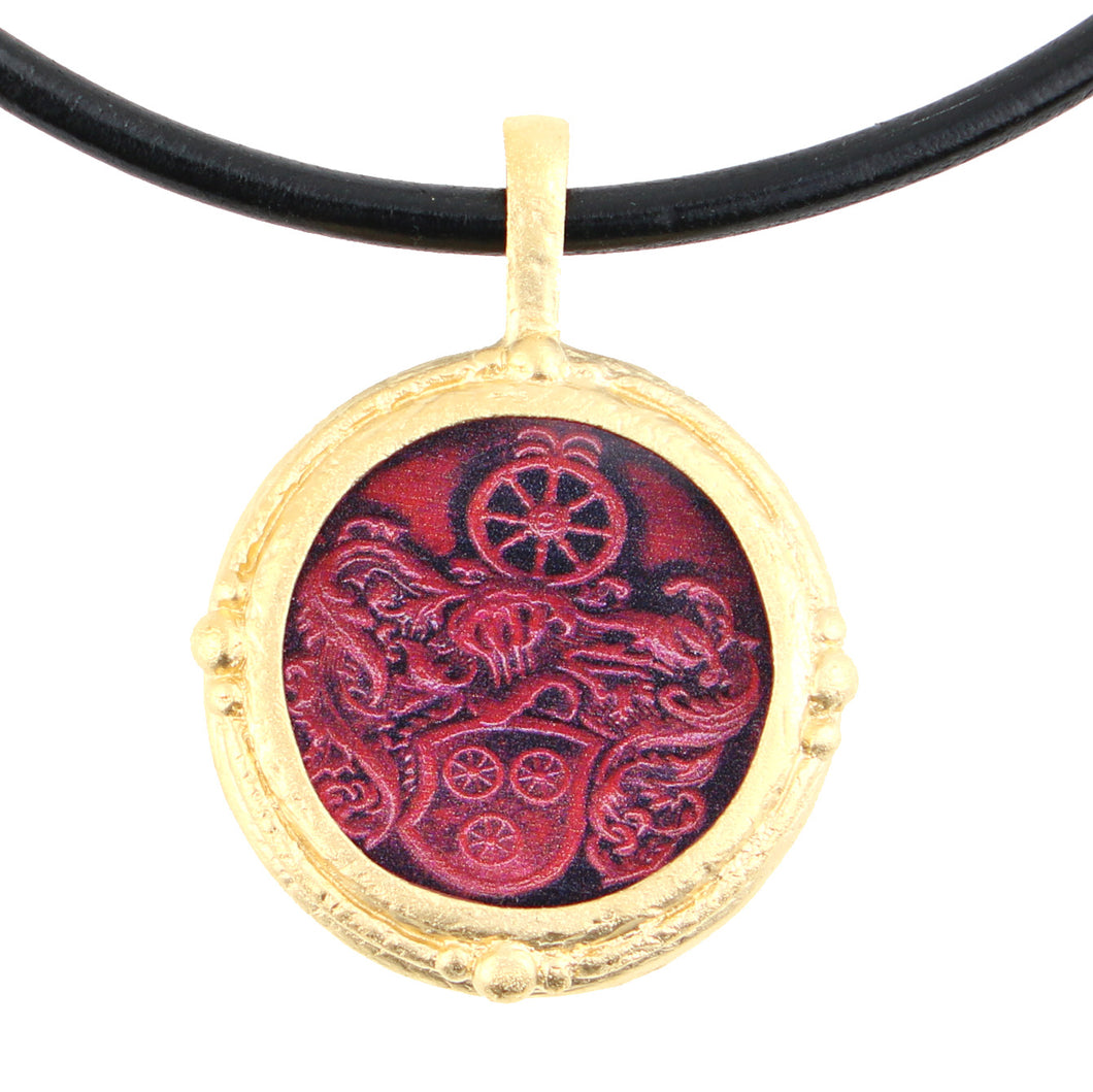 Fob Necklace, Red Wheel Seal