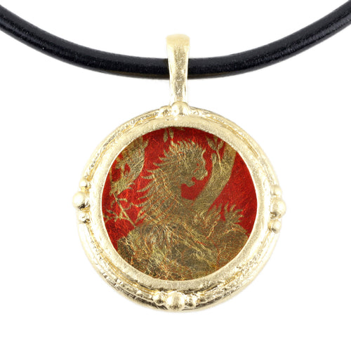 Fob Necklace, Gold Lion