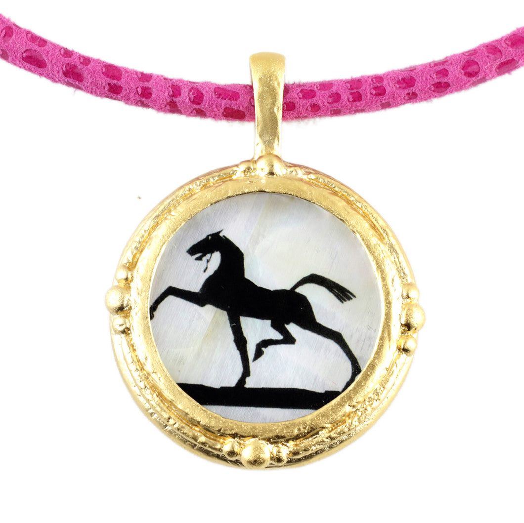 Fob Necklace, Gold Deco Horse
