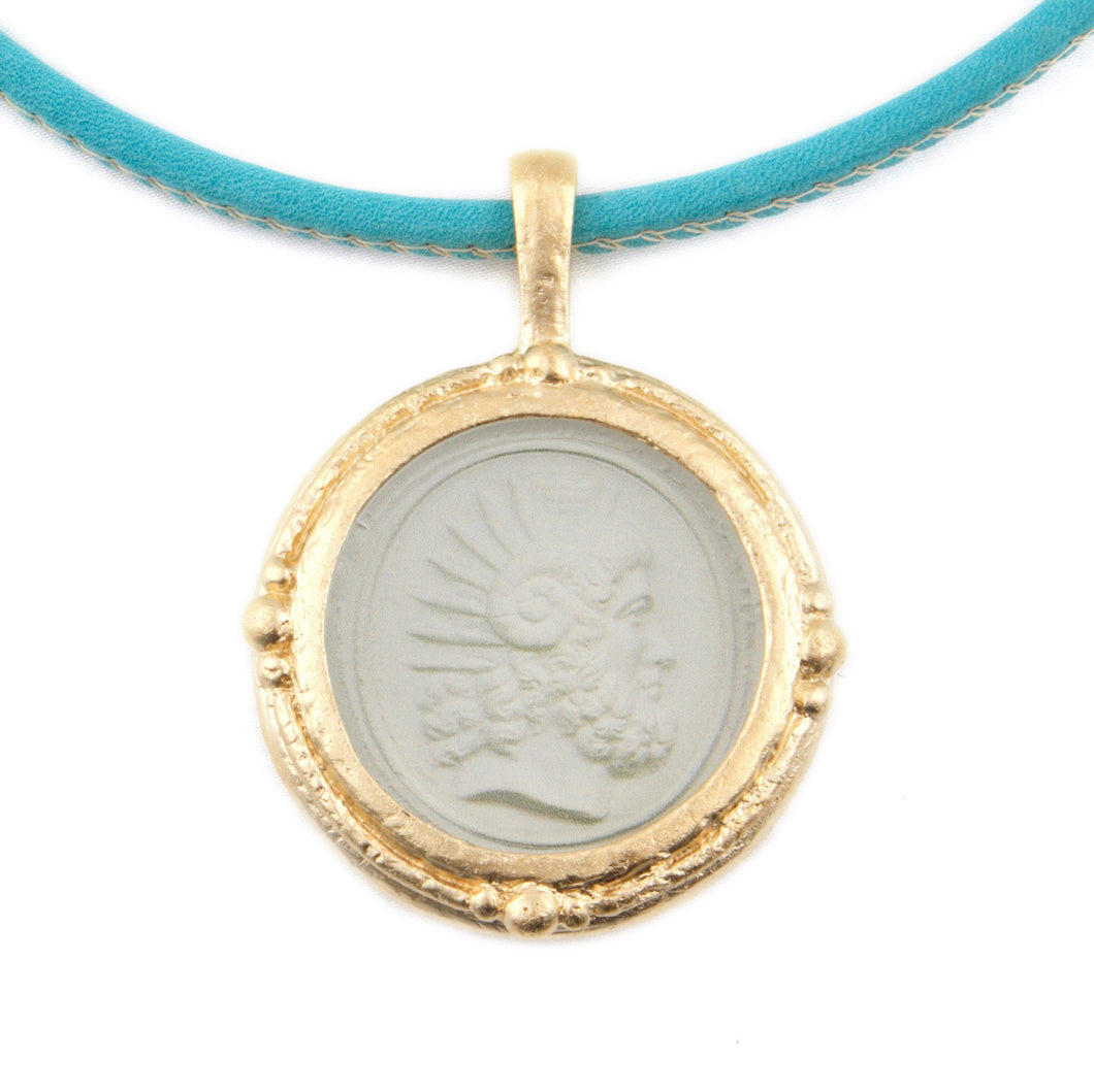 Fob Necklace, Intaglio Warrior Head