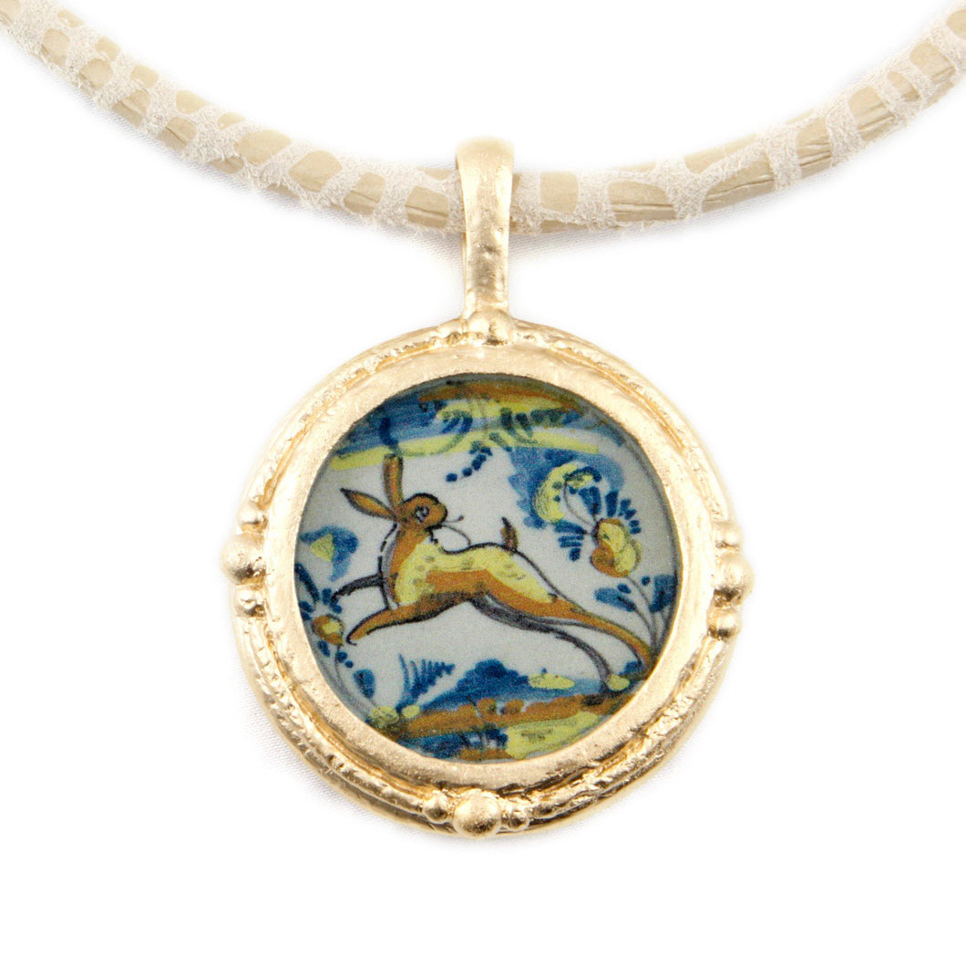 Fob Necklace, Delft Bunny