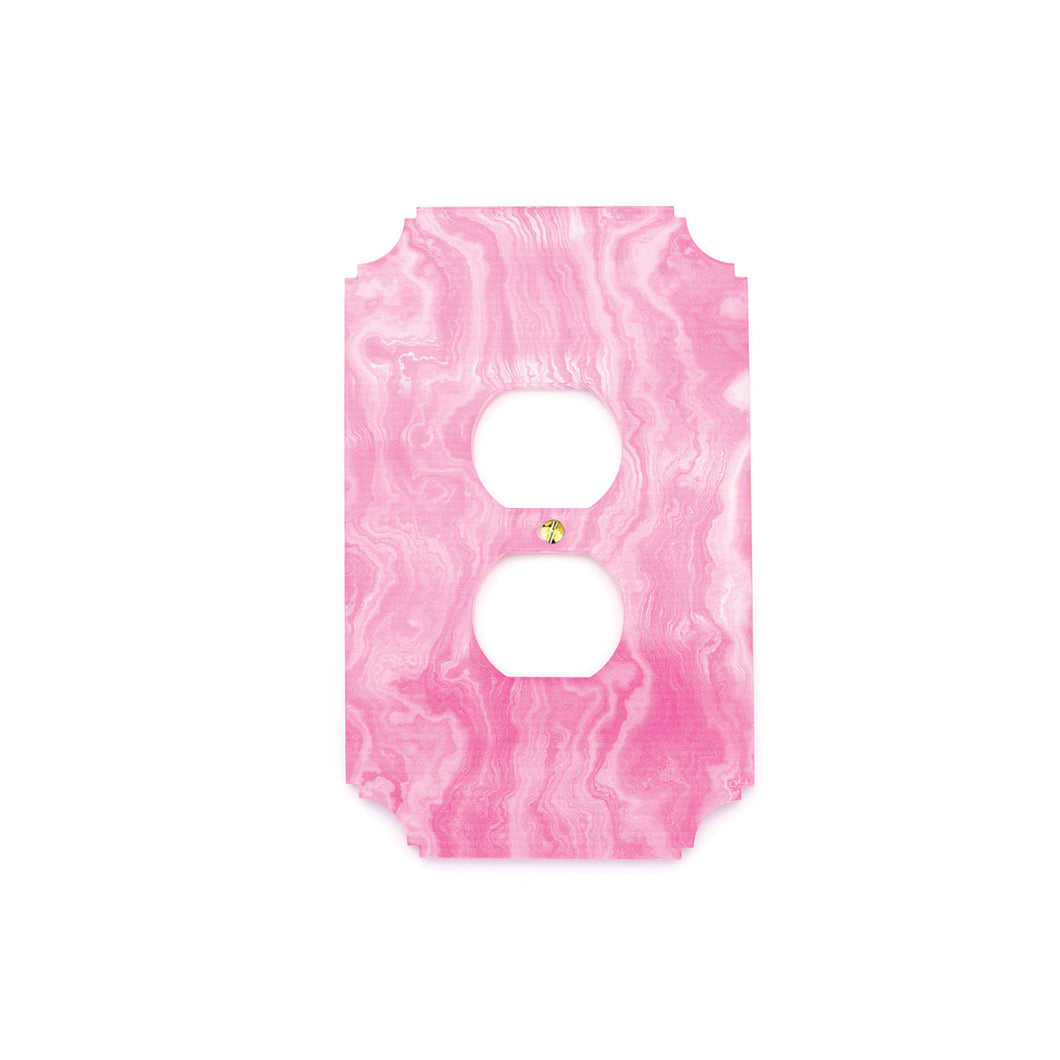 Printed Outlet Cover Plate | Pink Agate