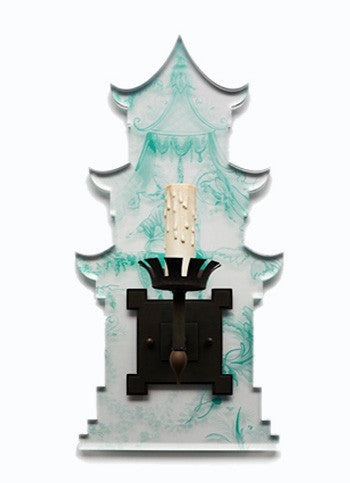 Pagoda Sconce, Blue Chinoiserie