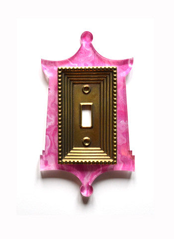 Acrylic + Brass | Pagoda Style, Pink Agate