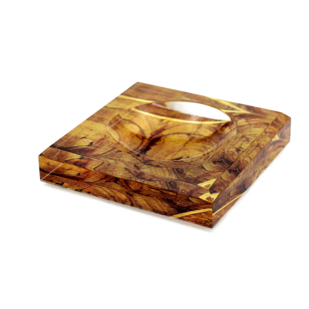 Acrylic Block Soap Dish | Oyster Wood