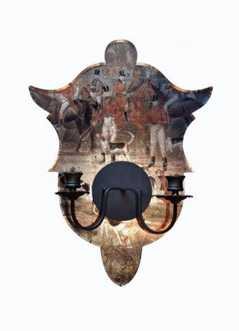 Shield Sconce, Hunt Scenes