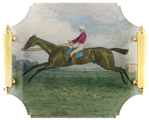 Acrylic Tray - Race Horse with Brass Handles