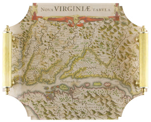 Acrylic Tray - Virginia Map with Brass Handles
