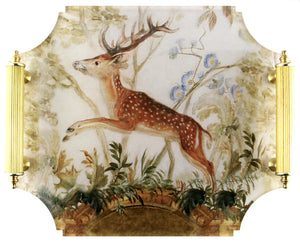 Acrylic Tray - Stag with Brass Handles
