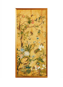Chinese Ochre Watercolor Panels, 18th c.