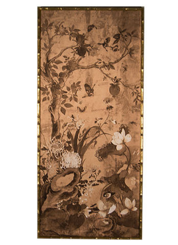 Chinoiserie Panels in Coffee, Set of Two