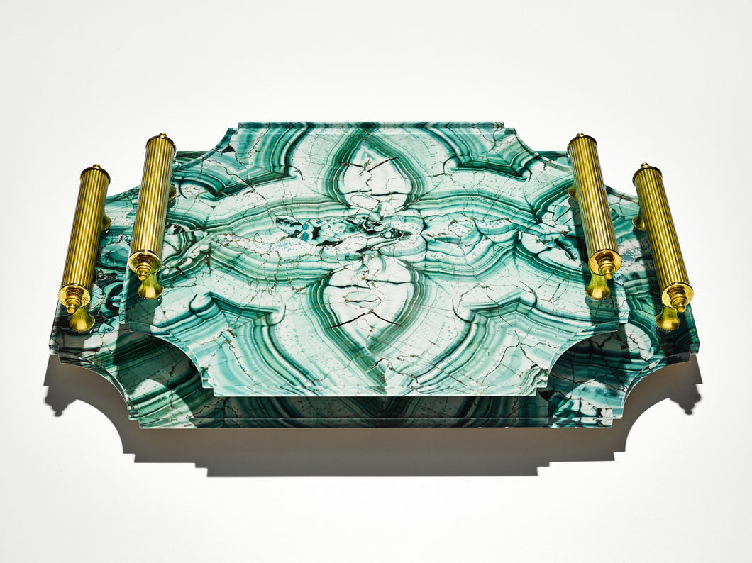 Acrylic Tray in Malachite with Brass Handles