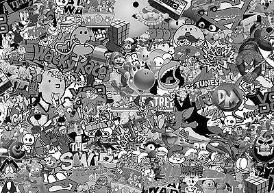 80's STICKERBOMB SHEET (CAST / WRAP) @ 2m x 1.3m VW/DRIFT/JDM/EURO (black/white) - Voodoo Vinyls