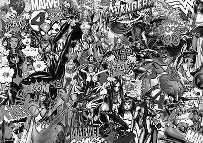 GIRLY MARVEL STICKERBOMB SHEET- (X1-A4 SIZE)FREE P&P! (SPIDERMAN/SUPERHERO- MONO - Voodoo Vinyls
