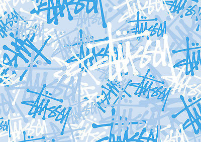 STUSSY STICKERBOMB SHEETS- BLUE  A4 SIZE (2 IN KIT) FREE P&P(VW/SKATE/DC) - Voodoo Vinyls