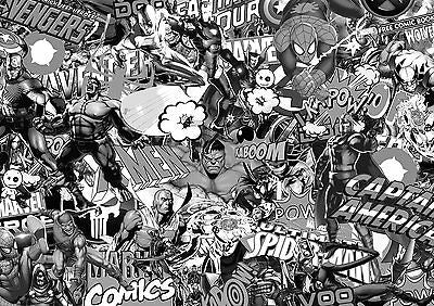 MARVEL COMIC STICKERBOMB SHEET- (X2- A4- BLACK/WHITE) FREE P&P! (VW/EURO/DRIFT) - Voodoo Vinyls