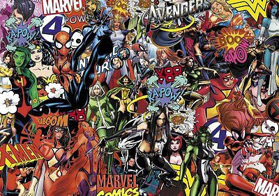 GIRLY MARVEL STICKERBOMB SHEET- SIZE:x2 IN KIT 1M X 300MM (cartoon)FULL COLOUR - Voodoo Vinyls