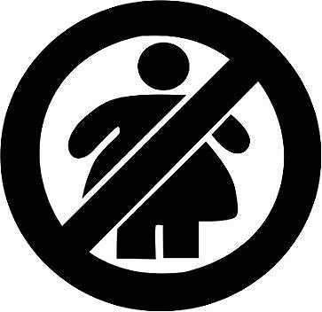NO FAT CHICKS STICKER/DECAL CAR, NO FATTIES, SKATE, JDM, VW, SNOWBOARD, SKATE - Voodoo Vinyls