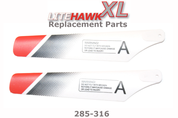 "285-316 XL (Silver Chassis) Main Rotor Blades ""A"""