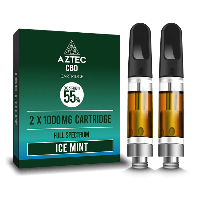 Aztec Refill Ice Mint 2-Pack 55% CBD Cartridges - I Love Vapour CBD aztec