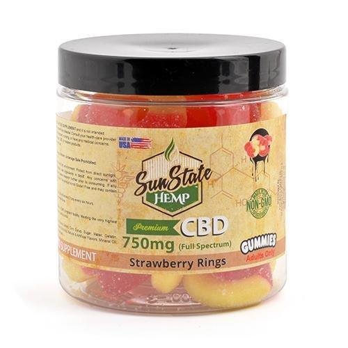 Gummy 750mg – Strawberry Banana Rings - I Love Vapour Edibles Sun State Hemp