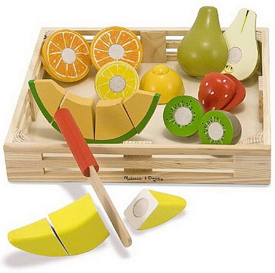 Ensemble de fruits à couper en bois