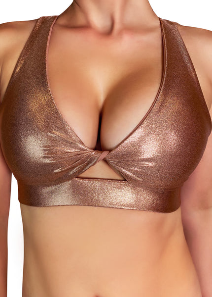 Rose Gold 'Fawnia' Twist Sports Bra
