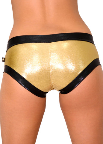 Metallic Hot Pants with Black Contrast - Various Colors